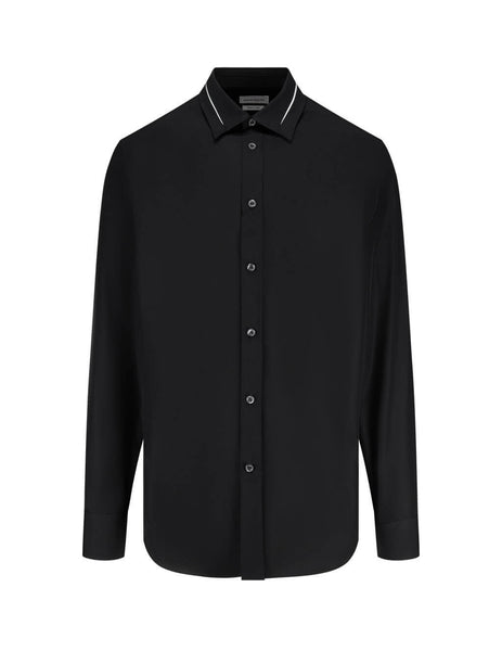 Men's Black Alexander McQueen Slash Collar Shirt 619147QPN661000