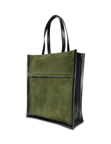 Men's Khaki and Black Alexander McQueen Suede Tote Bag 6255082E01Y3345
