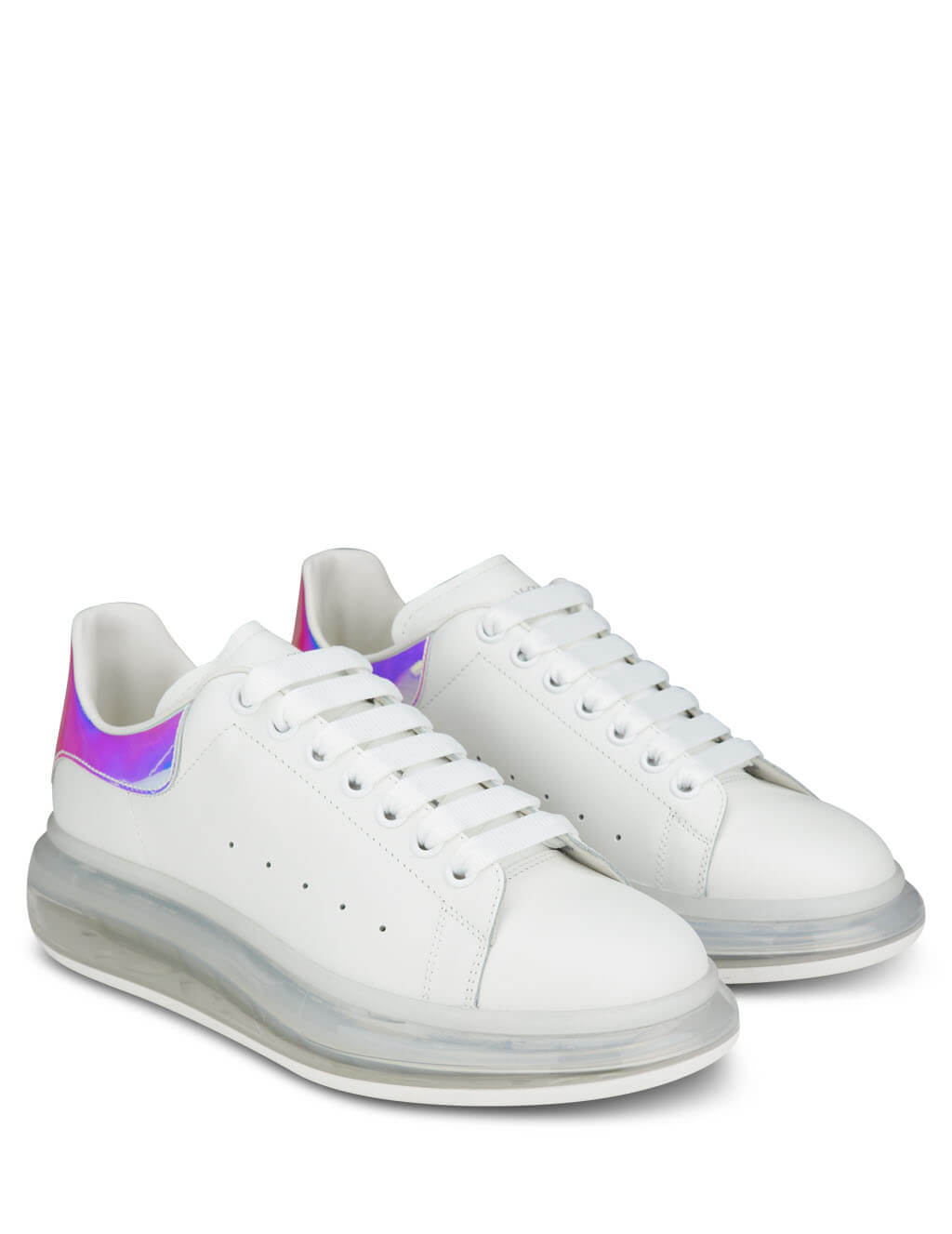 Men's White and Iridescent Silver Alexander McQueen Transparent Sole Oversized Sneakers 610812WHXM29071