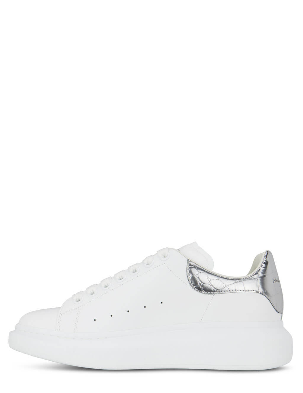 Men's Alexander McQueen Contrast Oversized Sole Sneakers in White/Silver - 625162WHYBQ9071
