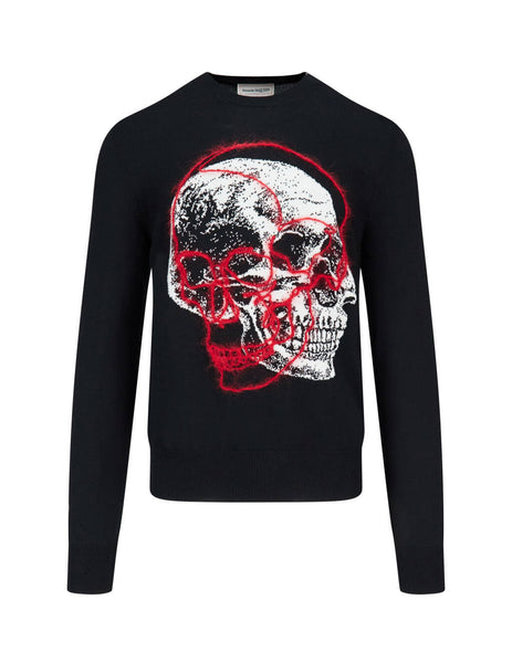 Alexander McQueen Men's Giulio Fashion Black Double Skull Jumper 626440Q1WZF1033