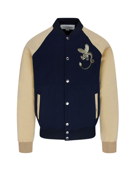 Alexander McQueen Men's Dragon Embroidered Bomber Jacket in Navy and Beiege 606480QOX544100