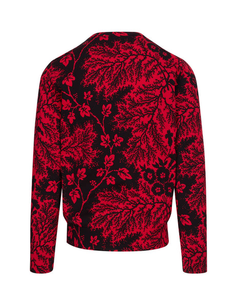 Alexander McQueen Men's Red Floral Leaf Knit 603220Q1GBH6533