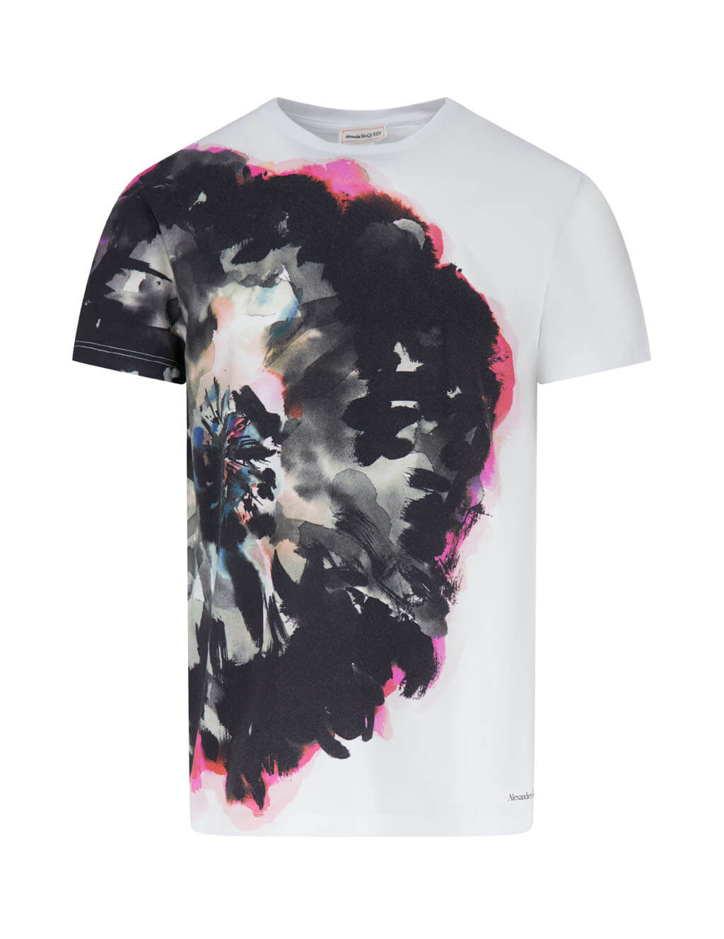 Alexander McQueen Men's Giulio Fashion White Ink Flower T-Shirt 609577QOZ910900