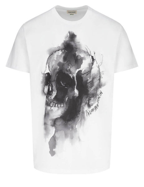 Alexander McQueen Men's White Ink Skull T-Shirt 650403QQZ600900