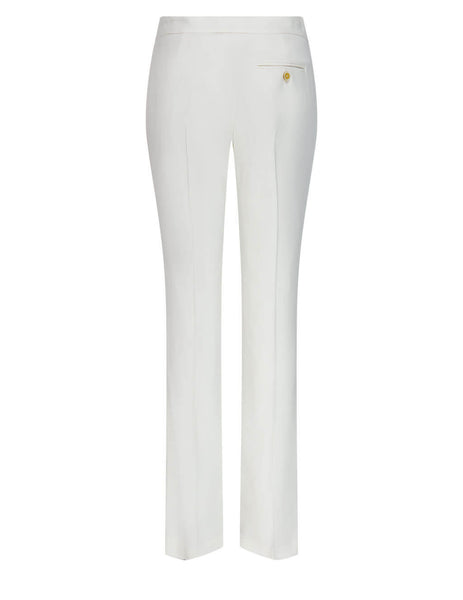 Women's Alexander McQueen Leaf Crepe Cigarette Trousers in Light Ivory - 650075QEAAA9007
