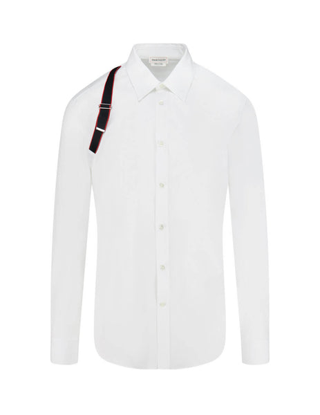 Alexander McQueen Men's Giulio Fashion White Logo Tape Harness Shirt 615271QPN449000