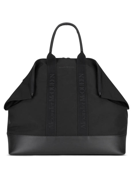 Alexander McQueen Men's Black Logo Tape Holdall Bag 575553HUO1B1000