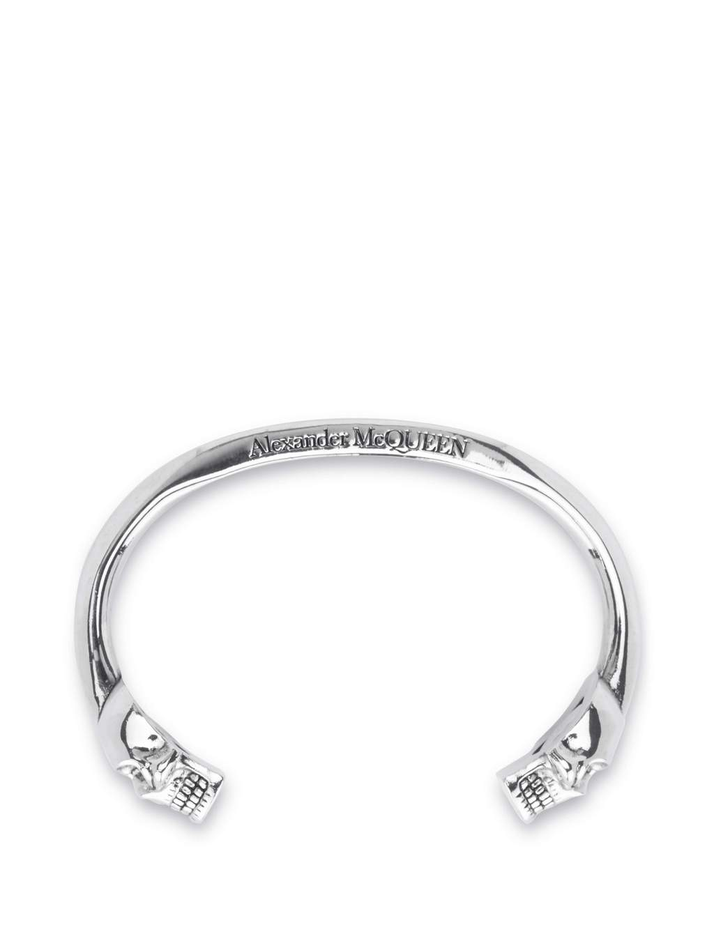 Alexander McQueen Men's Giulio Fashion Silver Logo Twin Skull Bangle 554487J160Y0446