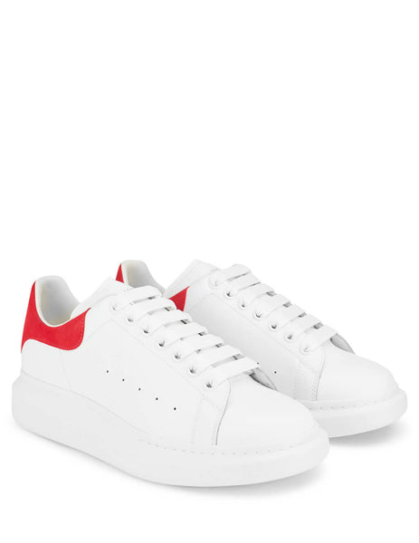 Alexander McQueen Men's White/Red Leather Oversized Sneakers 553680WHGP79676
