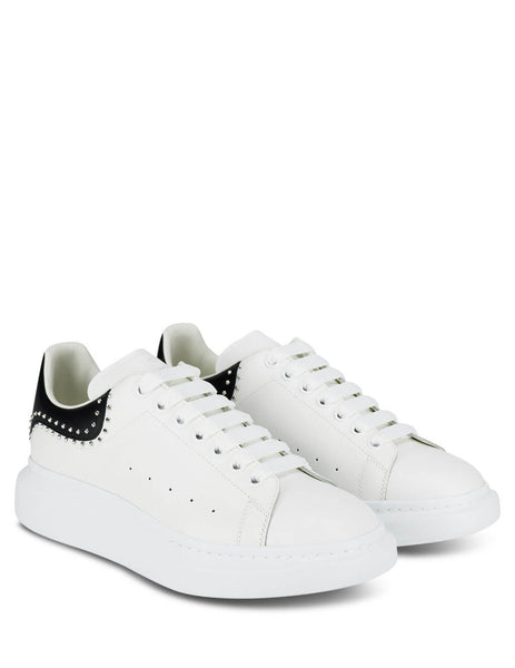 Men's White and Black Alexander McQueen Oversized Sneakers with Silver Metal Studs 628017WHTQQ9089