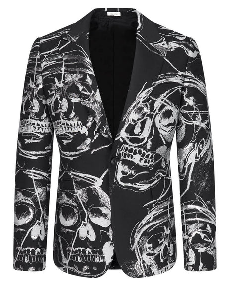 Alexander McQueen Men's Black Painted Skull Jacket 630559QPR461080