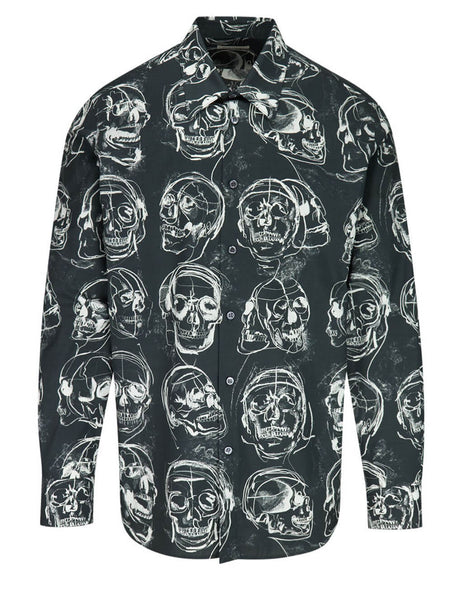 Alexander McQueen Men's Black Painted Skull Shirt 630549QPO421080