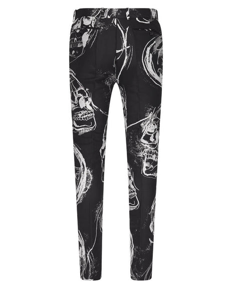 Alexander McQueen Black Painted Skull Trousers 624167QPR461080