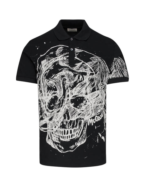 Alexander McQueen Men's Black Scribble Skull Polo Shirt 608636QOZ890901