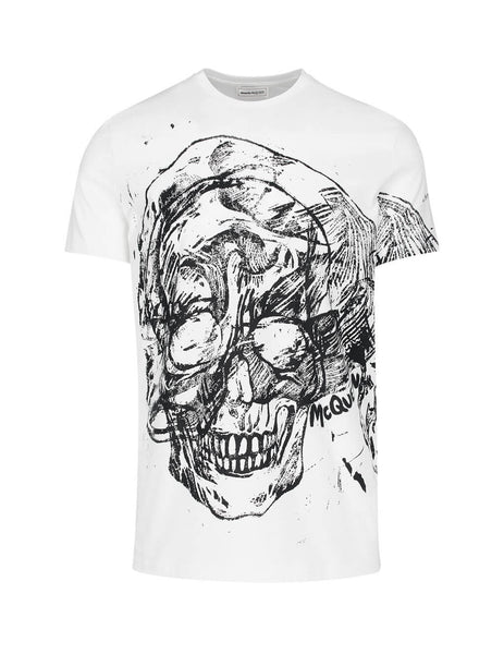 Alexander McQueen Men's Giulio Fashion White Scribble Skull Tee 595651QOZ880900