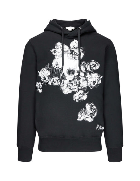 Alexander McQueen Men's Giulio Fashion Black Skull Rose Hoodie 575473QNZ790901