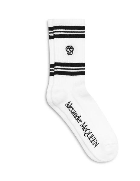 Alexander McQueen Men's Giulio Fashion White Skull Sports Socks 5734584683Q9060