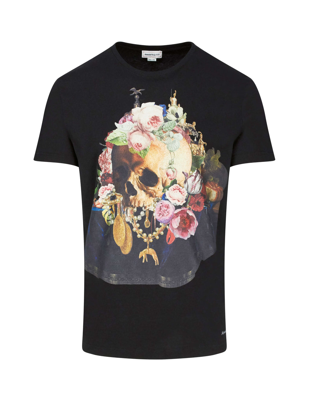 Alexander McQueen Men's Giulio Fashion Black Still Life Skull T-Shirt 573592QNZ640901