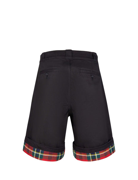 Alexander McQueen Men's Giulio Fashion Black Tartan Cuff Shorts 567862QNY321000