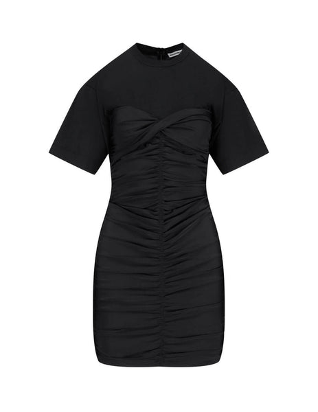 Women's Black alexanderwang.t Ruched Bodycon Hybrid Mini Dress 4CC2206068 983