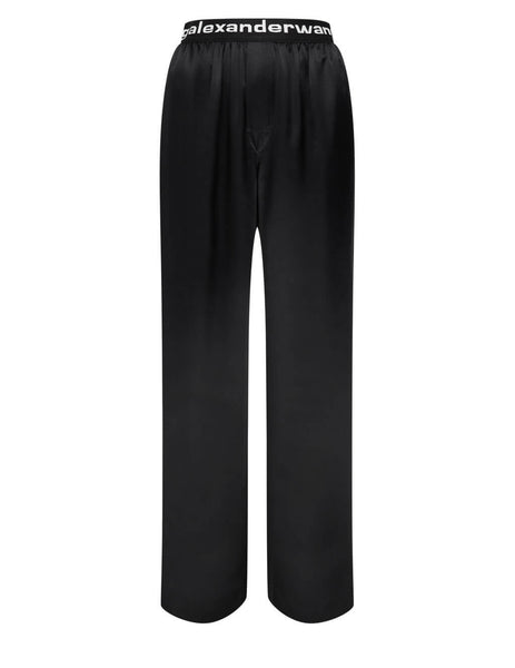 Women's alexanderwang.t Logo Elastic Trousers in Black - 4WC2214076001