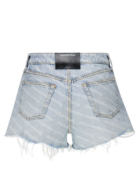 Women's Bleach Blue alexanderwang Bite High Rise Denim Shorts 4DC2204781270