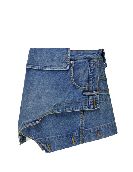 Women's Mid Wash Blue alexanderwang Deconstructed Skirt 4DC2205730421
