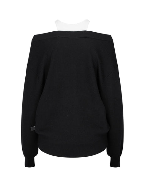 Women's alexanderwang.t Bi-Layer Off Shoulder Knit in Black - 4KC1201038951