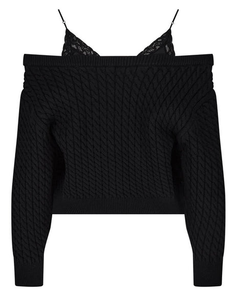 alexanderwang.t Women's Black Cable Knit Pullover 4KC2201021 001