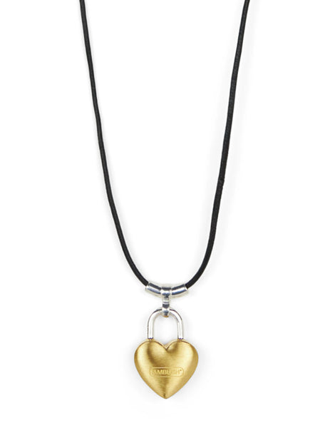 Women's AMBUSH Small Heart Padlock Charm Necklace in Gold - BWOB009S21MET0027600