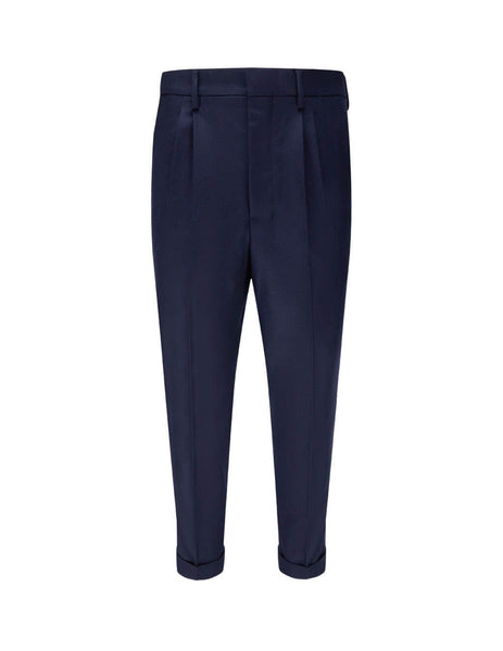 mens ami carrot fit cuffed hem trousers in navy H20HT402-231410