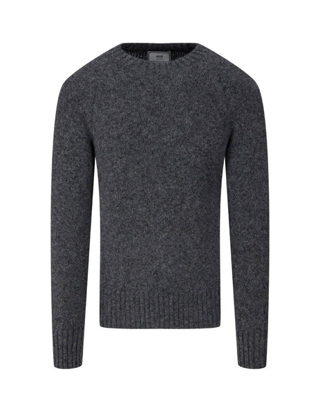 mens ami crewneck sweater in heather grey H20HK014-003055