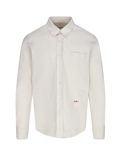 Men's Off White AMI A.M.I Embroidery Oxford Shirt E20HC006.45 150