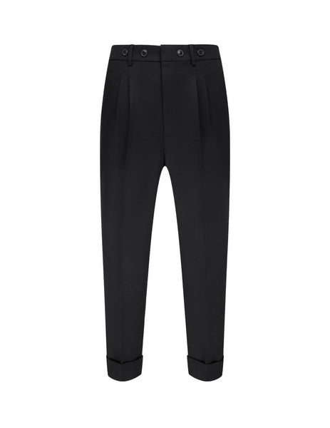 AMI Men's Black Button Carrot Trousers H20HT422.242 001