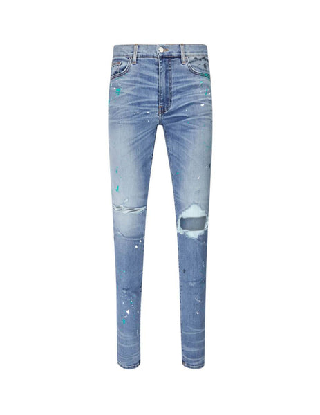 AMIRI Men's Giulio Fashion Rosebowl Paint Splatter Jeans F9M01106SDRSB