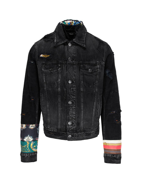 AMIRI Men's Scarves Art Patch Denim Trucker Jacket W0M04603RDABK