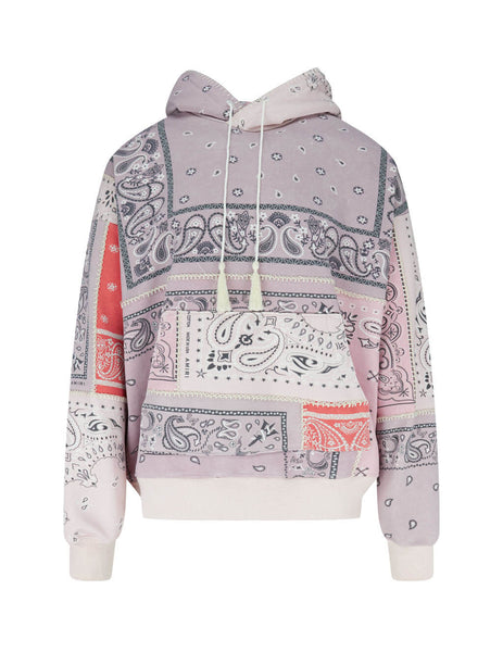 AMIRI Men's Giulio Fashion Coral Bandana Reconstructed Hoodie Y0M02369TECOR