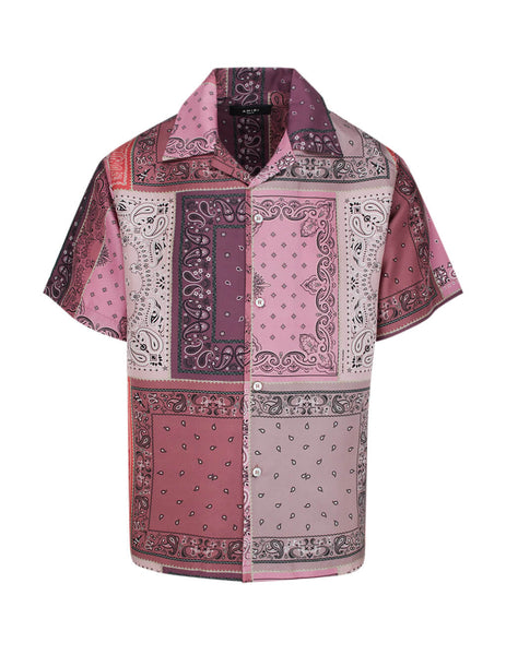 Men's Coral AMIRI Bandana Reconstructed Silk Shirt Y0M06227SECOR