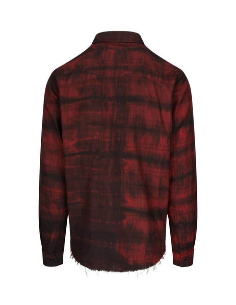 AMIRI Men's Giulio Fashion Red Bleached Flannel Shirt W9M04473PDRED