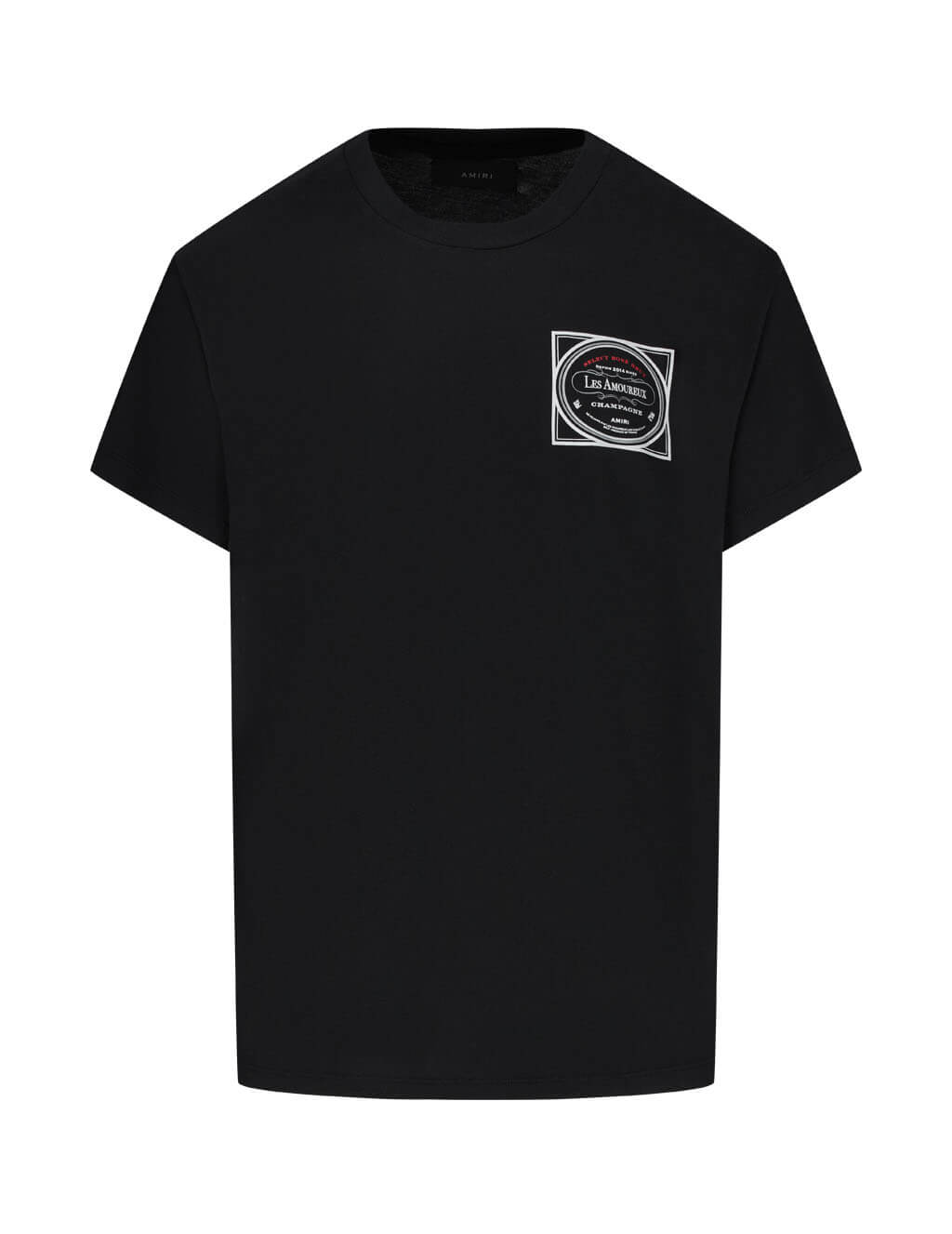 Men's AMIRI Les Amoureux Label Tee in Black. F0M03237CJBLK