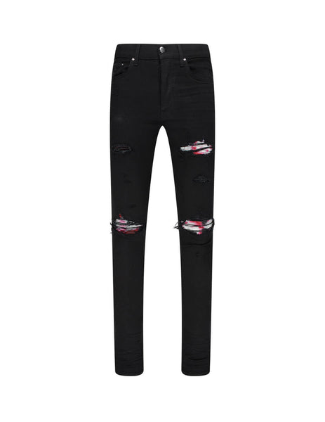 Men's AMIRI MX1 Watercolour Plaid Jeans in Black. F0M01157SDBLK