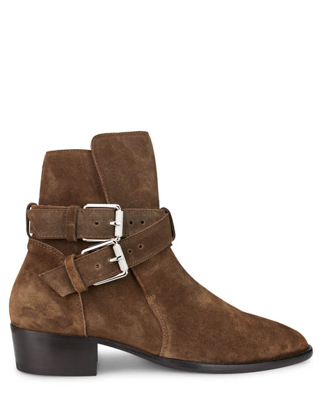 mens amiri suede buckle boot brown W0F20348SUBRN