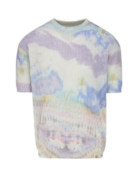 Men's AMIRI Tie Dye Knitted Cashmere T-Shirt Y0M05179CCMUL