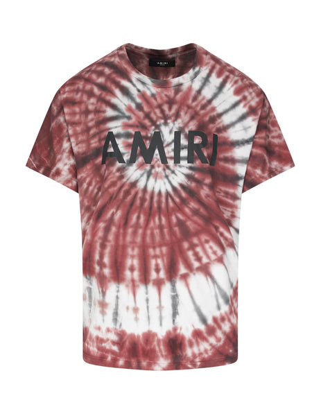 AMIRI Men's Giulio Fashion Burgundy Tie Dye T-Shirt W9M03338CJBUR