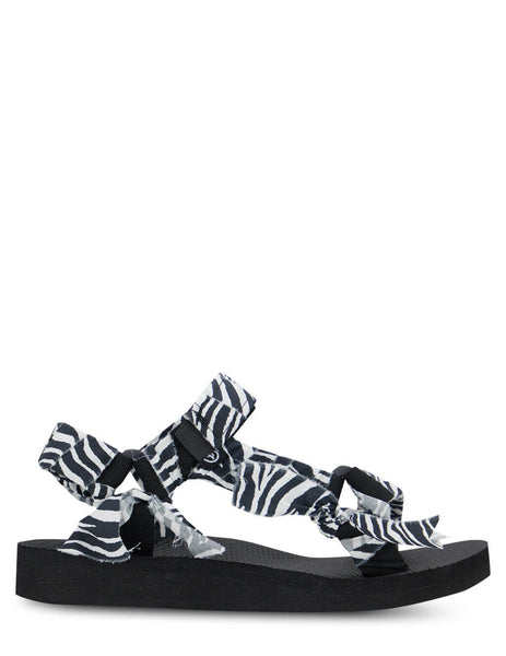 Women's Arizona Love Trekky Zebra Sandals in White/Black