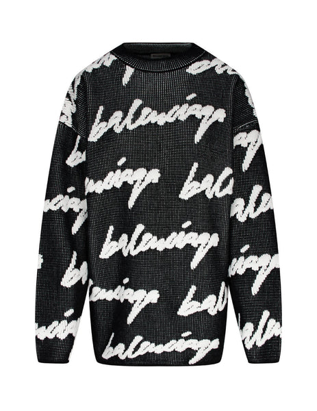 Women's Black and White Balenciaga 3D Scribble Jumper 628730T31801070