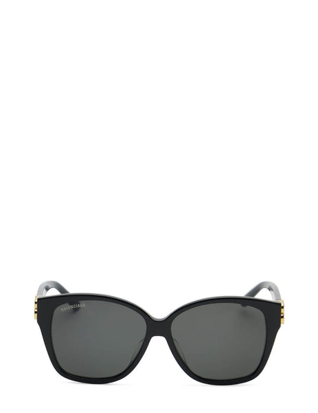 Women's Balenciaga BB0135SA Oversized Square Sunglasses in Black/Grey - BB0135SA-001