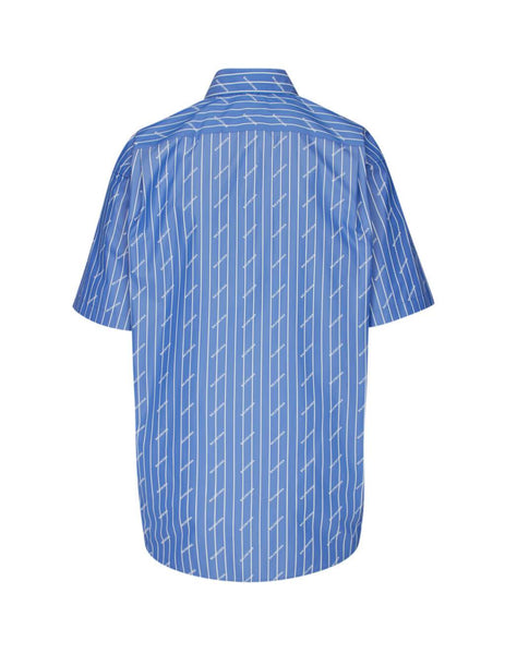 Balenciaga Men's Blue Diagonal Logo Pattern Shirt 534332TGLB95531