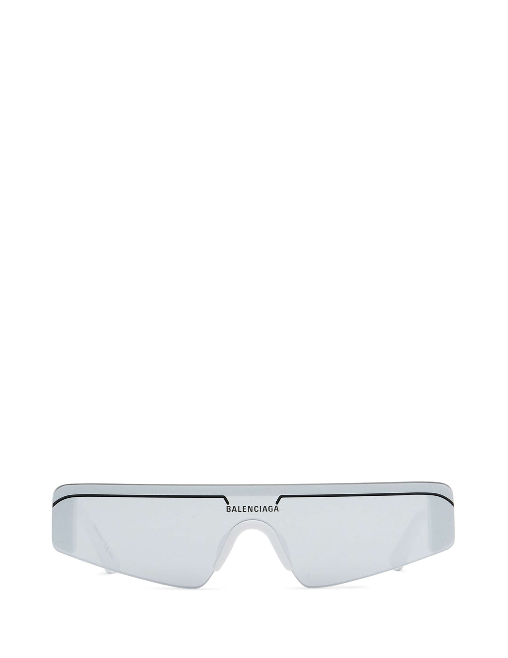 Balenciaga Eyewear Unisex White and Silver Rectangular Shield Sunglasses BB0003S002